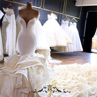 Wholesale champagne organza wedding dresses resale online - 2020 Sexy Deep V Neck Mermaid Wedding Dresses With Chapel Train Custom Made Organza Ruffles Bridal Gowns With Zipper Back