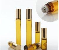 uçucu yağlar şişe kahverengi toptan satış-3ML 5ml 10ML Mini Rulo On Cam şişe parfüm PARFÜM Amber Brown KALIN CAM ŞİŞELER TEMEL YAĞ şişe Çelik Metal Silindir top B813