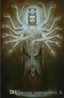 Wholesale painting kwan yin resale online - Dunhuang fairy Kwan yin Avalokitesvara Thousands Hands Guanyin High Quality Handpainted oil painting Wall Art Home Decor On Canvas p121