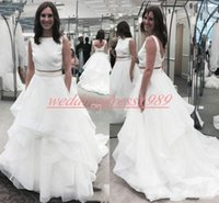 Wholesale two piece wedding dresses for beach resale online - Elegant Two Pieces Wedding Dresses Sleeveless Arabic Tulle Garden Tiered Country Bridal Ball Gown For Bride Plus Size robe de mariée