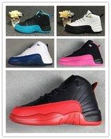 zapatos morados oscuros al por mayor-Nike Air Jordan Niños Niñas 12 12s Gimnasio Rojo Hiper Violeta Púrpura Niños Zapatillas de baloncesto Niños Rosa Blanco Azul Oscuro Gris Niños pequeños Regalo de cumpleaños 28-35
