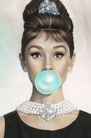 audrey hepburn posters al por mayor-Audrey Hepburn sopla un cartel de impresión de seda de gran arte azul Bubble Gum Bubble Bubble 24x36 pulgadas (60x90cm) 088