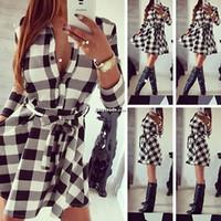 белый черный длинный комбинезон оптовых-Женщины BlackWhite клетчатая рубашка Dress мода повседневная фланель с длинным рукавом Party Club талии рубашка Dress дамы Romper Dress LJJW38