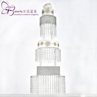 Wholesale nurse graduation party supplies for sale - Group buy Acrylic Cupcake Tower Stand Tier Round with Hanging Crystal Beaded Chandelier Cake Stand wedding Party Cake Display Tower