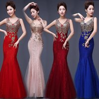 vestidos de bordado chino al por mayor-Venta caliente Delgado Vestido Cheongsam Chino Vestido bordado de impresión Retro etiqueta de la boda cheongsam Hospitalidad etiqueta de la ropa