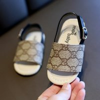 Wholesale walker slippers resale online - Summer Baby Sandals Kids Boys PU Slippers First Walker Shoes Non slip Shoes Outdoor Beach Sandals Floral Printed Casual Sandal