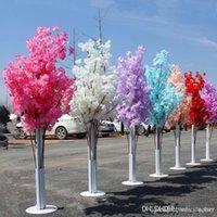 adereços romanos venda por atacado-Colorido Artificial Flor De Cerejeira Árvore Coluna Romana Rua Leva Wedding Mall Aberto Props Ferro Art Flower Doors