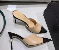 ingrosso pantofole nero-Pantofole in pelle per donna con tacco alto e perlato, sandali neri beige, tacco nudo, décolleté con tacchi, scarpe con prom dress, spedizione gratuita