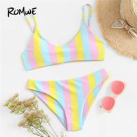 sport dreieck badebekleidung großhandel-Sport Multicolor Striped Schwimmen Bikini Set Frauen Sexy Beach Triangle Badeanzug Mit Brustpolster Weibliche Sommer Bademode