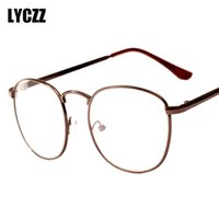 marcos de gafas unisex de metal redondo al por mayor-LYCZZ Gafas Redondas Marco Retro Diseñador Metal Cero Dioptría Gafas Ópticas Llanura Miopía Marco Espejo Unisex Lentes