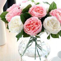 casa de flores de tela al por mayor-Simulación de seda Flor color de rosa Tela de seda artificial Rosas Peonías Flores Ramo Blanco Rosa Naranja Verde Rojo para la boda Home Hotel decoración