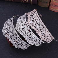 2019 new European hot silver bride wedding crown accessories   explosion models rose gold rhinestone wedding crown Headpieces