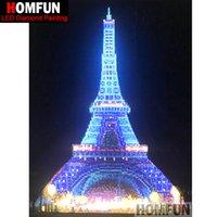 led eiffel kuleleri toptan satış-Toptan LED Işık Tam Yuvarlak Matkap 5D DIY Elmas Boyama