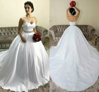 Wholesale white line wedding dress sweetheart crystal for sale - Charming Sweetheart Satin White Wedding Dresses With Beaded Sash Country Style Vestido de novia Bridal Gown Ball Bride Dress Plus Size