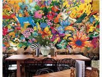 ingrosso fiore zebra-Personalizzato 3D Seta Foto Murale Carta da parati Vintage dipinto a mano europea animale zebra fiore fiore murale sfondo muro adesivo Papel de parede