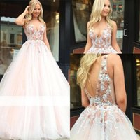 ingrosso abito di promenade increspato arrossisce-Blush Pink Quinceanera Dress Beaded Strass Top Ball Gowns Deep V Neck Low Backless Long Ruched Prom Abiti da sera BC1916