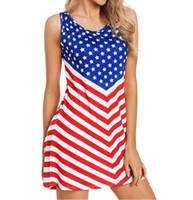 strandstrumpfhosen großhandel-Amerikanische flagge druck frauen sommerkleid unabhängigkeitstag ärmellose beiläufige gestreifte dünne enge strandkleid frauen kleid