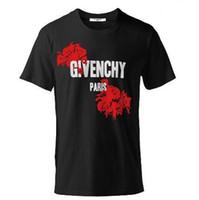 famous print design t shirt toptan satış-2019 son Fransız ünlü tasarımcı tasarım casual kırmızı gül baskı erkek ve kadın t-shirt