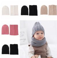 cachecol de inverno definido venda por atacado-Crianças Chapéu Cachecol Set 2 Pçs / set Moda Bebê Ao Ar Livre de Viagem de Inverno Quente De Malha Gorros Caps Crianças Macios Cachecóis TTA1632