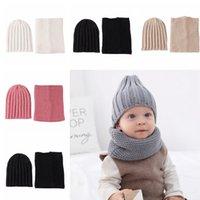 beanie şapka eşarp seti toptan satış-Çocuk Şapka Eşarp Set 2 Adet / takım Moda Bebek Açık Seyahat Kış Sıcak Örme Kasketleri Çocuklar Yumuşak Atkılar TTA1632 Caps