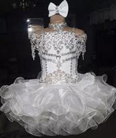 joelho comprimento comunhão vestidos venda por atacado-Branco Queque de Cristal Flor Meninas Vestidos Para Casamentos Queque Frisado Lantejoulas Na Altura Do Joelho Barato Comunhão Vestido Vestido Custom Made