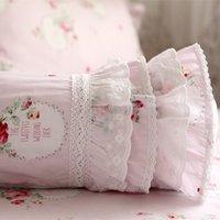 almofadas bordadas rendas venda por atacado-Elegante almofada bordada decorativo travesseiro da cama doces Europeia Almofada Princess Preguear lombar sofá travesseiro mão repousa