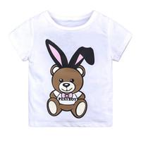 camisetas estampadas de dibujos animados para niñas al por mayor-Summer Baby Boys Designer Tops Camiseta de Dibujos Animados Oso Imprimir Algodón Girls Tops Tees Camiseta para Niños Niños Outwear Ropa Tops 1-6 Año