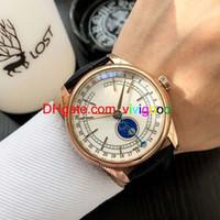 relógio de marca prata venda por atacado-Fábrica grande Luxry Marca Cellini m50535-0002 branco Dial Automática Fase da Lua Mens Watch Sapphire Vidro rosa de ouro ou Caso de Prata pulseira de couro