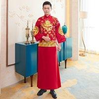 одежда для жениха оптовых-Древний Жених Свадебная Одежда Китайских Мужчин Старинные Тан Одежда Вышивка Дракон Пальто + Халат 2 ШТ. Мужской Брак Костюм S-XXL