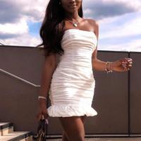 enge kleider party sommer groihandel-NewAsia doppelte Schichten weißes Kleid 2019 Frauen Liebsten Rüschenband, figurbetontes Kleid elegant Verein Sexy Party Enge Kleider