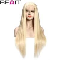 peruca de cor laço 613 22 venda por atacado-613 Cor Do Laço Frente Perucas de Cabelo Humano Para As Mulheres Malaio Peruca Direta Pré Arrancadas Com Cabelo Do Bebê Remy Cabelo Lace Wig Beyo