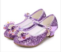 Wholesale high heels shoes for children resale online - Children Princess Sandals Kids Girls Wedding Shoes High Heels Dress Shoes Bowtie Gold Leather For Girls Casual