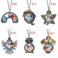 mais jóias fazendo venda por atacado-Mais Projetos Magnético Aberto Rainbow Owl Folha Medalhão De Vidro Do Dragão Gaiola de Pérolas Pingente de Memória Viva Colar Flutuante para Fazer Jóias