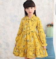 vestido de otoño amarillo niña al por mayor-Vestido de gasa con cuello alto para niñas Cute Baby Children Color amarillo y púrpura Western Kids Primavera Otoño Vestidos