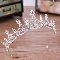 ingrosso velo di tallone d'argento-Di lusso goccia d'acqua perline di strass foglia nuziale diadema corona d'argento di cristallo diadema velo diadema accessori per capelli da sposa copricapi