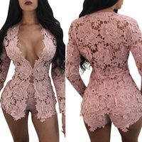 Two Pieces Outfits Women's Sexy Long Sleeve Floral Lace Blazer And Bodycon Shorts Pants Set