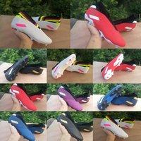 botas de vermelho azul branco venda por atacado-2020 chegam novas Shoes Mens Futebol Messi Nemeziz 19,3 laceless FG ás 19 + x Deslizamento-em baixo Football tornozelo alta Azul Vermelho Branco Botas Grampos