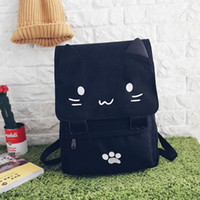 Wholesale soft cat travel bag for sale - Group buy Women Backpack Canvas Cute Cat Travel Rucksack Student School Bag Kawaii Bookbags LT88