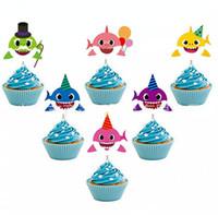 ingrosso festa di compleanno cupcakes-Torta di squalo torta animale torta toppers 6 pz / set cartone animato cupcake inserti scheda compleanno bambino squalo regalo decorazione di compleanno del partito gga1951