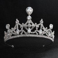 yeni gelin tacı toptan satış-Yeni Desen Düğün Takı Gelin Taç High-end Zirkon Kristal Gelin Şapkalar Prenses Tiaras Kadın Aksesuarları