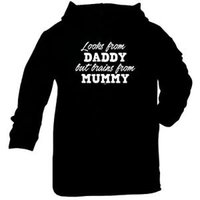 Wholesale brain baby resale online - Funny Baby Infants Cotton Hoodie Hoody Looks From Daddy Brains From Mummy