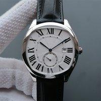 relógio de marca prata venda por atacado-Brand new wsnm0004 caixa de aço inoxidável dos homens de prata de discagem automática de couro preto data watch 40 * 41mm de alta qualidade com caixa
