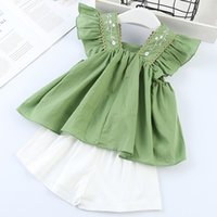 Wholesale girl clothing online - kids designer clothes girls outfits children Flying sleeve ruffle tops shorts set Summer fashion baby Clothing Sets C6731