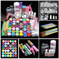 herramientas de uñas rhinestones al por mayor-Pro Acrylic Power Manicure Nail Kit Acrílico Tips Cutter Glitter Rhinestones File Brush Manicure Nail Art Juego de herramientas Gel