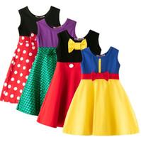 küçük kızlar için rahat kıyafetler toptan satış-Küçük kızlar prenses elbise yaz bebek kız tankı etek çocuk karikatür pamuk Rahat Giysiler Çocuk Gezisi Frocks Parti Kostüm