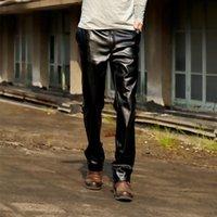 pantalon de jogging en faux cuir pour homme achat en gros de-Mode pantalon en cuir moto coupe-vent épaississement pour hommes en cuir simili pantalon de Joggers pantalon hip hop hommes hiver