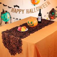 toalhas de mesa para festas venda por atacado-Tabelas Tabela Decoração Halloween Black Lace Teia de aranha Toalha Lareira Scarf criativas Festa cobertura de pano Decoração Quadro Principal GGA2684
