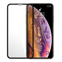 tam ekran temperli iphone toptan satış-Tam Tutkal Kapak Temperli Cam Ekran Koruyucu Için iPhone XS MAX X XR 8 7 Samsung J6 J7 J8 A7 A8 2018