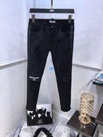 diseño de jeans coreano al por mayor-19ss nuevo diseño de moda para hombre de alta calidad y exquisito edición coreana Jeans bordado delgado casual pequeño pie recto pantalones 84