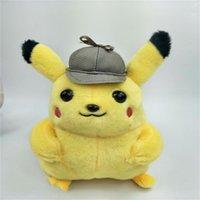 ingrosso grandi bambole in vendita-Big Detective Pikachu Doll Kid Peluche giocattolo Grab Machine Dolls giallo regalo di compleanno Carino vendite dirette della fabbrica 10db
